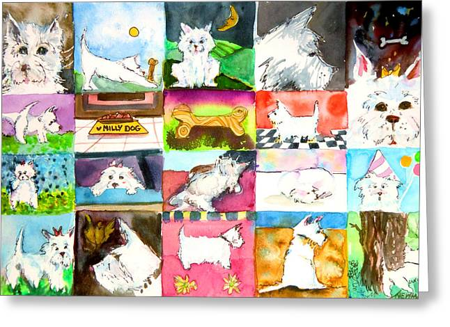 Moon Smiling Greeting Cards - Comical Westie Greeting Card by Mindy Newman
