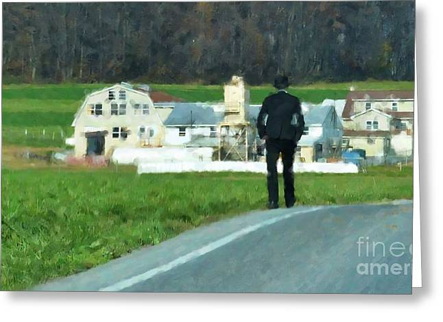 Amish Greeting Cards - Coming Home Greeting Card by Debbi Granruth
