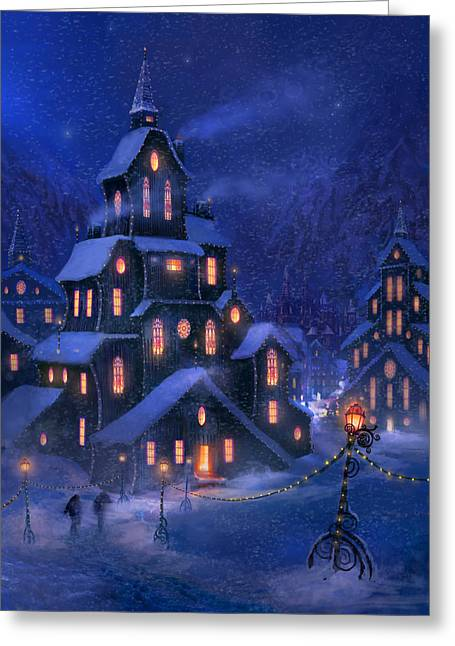 Town Mixed Media Greeting Cards - Coming Home Greeting Card by Philip Straub