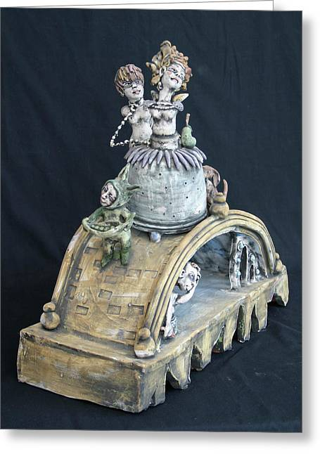 Sculpture. Ceramics Greeting Cards - Coming Through Greeting Card by Kathleen Raven