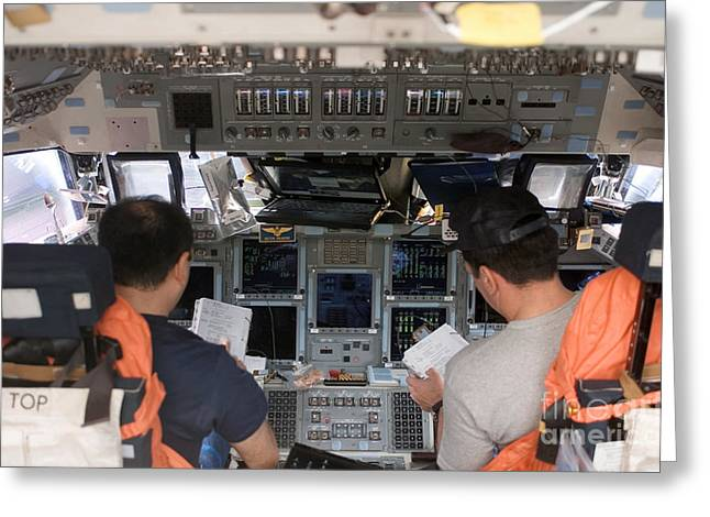 Control Panels Greeting Cards - Commander And Pilot Look Greeting Card by Stocktrek Images