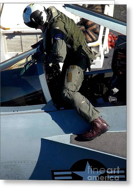 F-18 Greeting Cards - Commander Exits An Fa-18e Super Hornet Greeting Card by Stocktrek Images