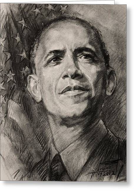 Obama Greeting Cards - Commander-in-Chief Greeting Card by Ylli Haruni