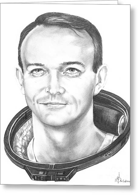 Nasa Drawings Greeting Cards - Commander Michael Collins Greeting Card by Murphy Elliott