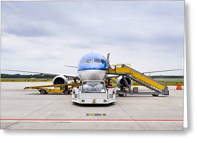 Element Of Air Greeting Cards - Commercial Airliner Parked At An Greeting Card by Corepics