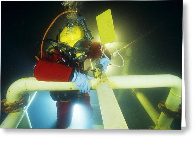 Diving Helmet Greeting Cards - Commercial Diver Greeting Card by Alexis Rosenfeld