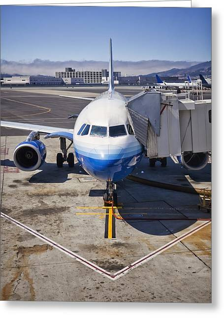 No Clothing Greeting Cards - Commerical Airliner At Gate San Greeting Card by Bryan Mullennix