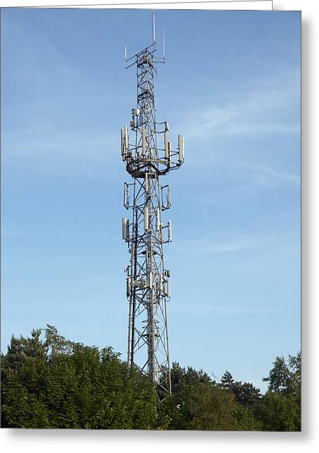 Technological Communication Greeting Cards - Communication Mast Greeting Card by Adrian Bicker