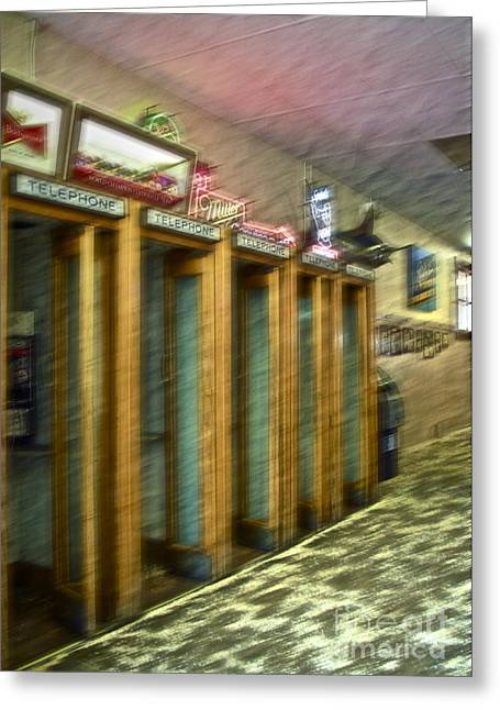 Telephone Booth Greeting Cards - Communication Movement Greeting Card by Gwyn Newcombe