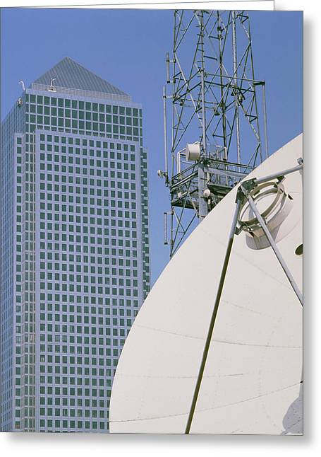 Communications Technology Greeting Cards - Communications Dish, With Canary Wharf In B/ground Greeting Card by David Parker