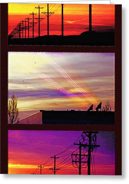 Transmission Mixed Media Greeting Cards - Communications Triptych Greeting Card by Steve Ohlsen