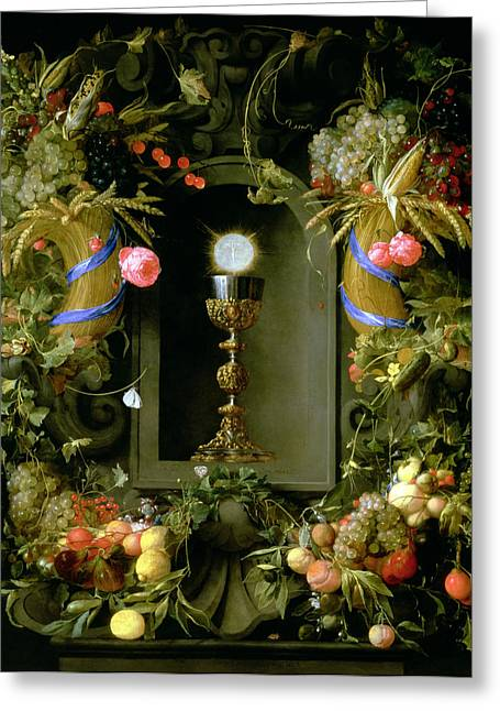 Corn Paintings Greeting Cards - Communion cup and host encircled with a garland of fruit Greeting Card by Jan Davidsz de  Heem