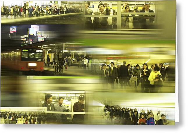 Many People Greeting Cards - Commuter Crowds Greeting Card by Mehau Kulyk