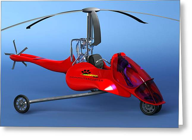 Single Seater Greeting Cards - Commuter Helicopter, Computer Artwork Greeting Card by Christian Darkin