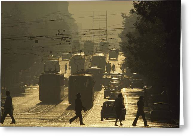 Vehicle Of Life Greeting Cards - Commuters Cross Dondukov Street Greeting Card by James L. Stanfield