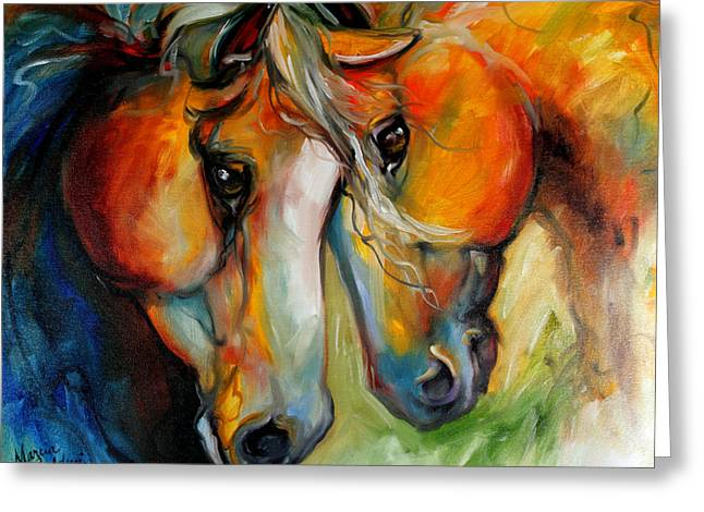 Marcia Greeting Cards - Companions Equine Art Greeting Card by Marcia Baldwin