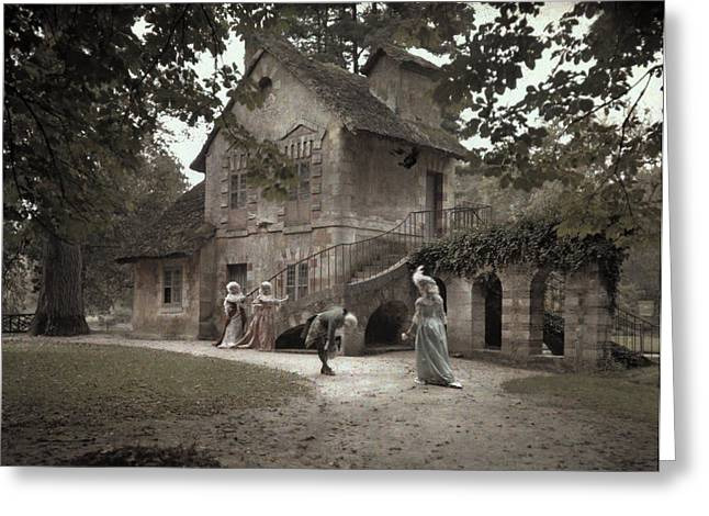 Trianon Greeting Cards - Company Members Reenact Life Greeting Card by Gervais Courtellemont