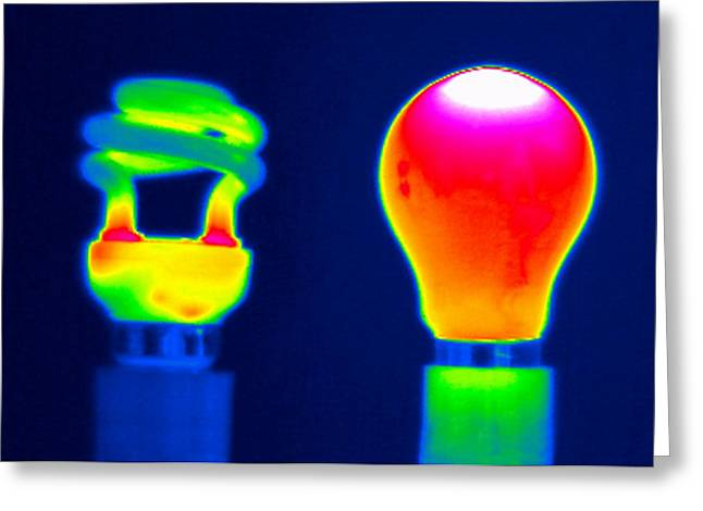 Experiment Greeting Cards - Comparing Light Bulbs, Thermogram Greeting Card by Tony Mcconnell