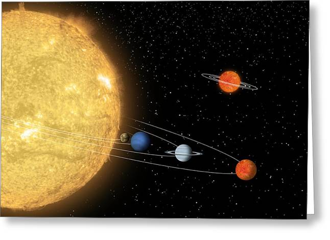 Sunlike Greeting Cards - Comparing Planetary Systems, Artwork Greeting Card by Nasajpl-caltech