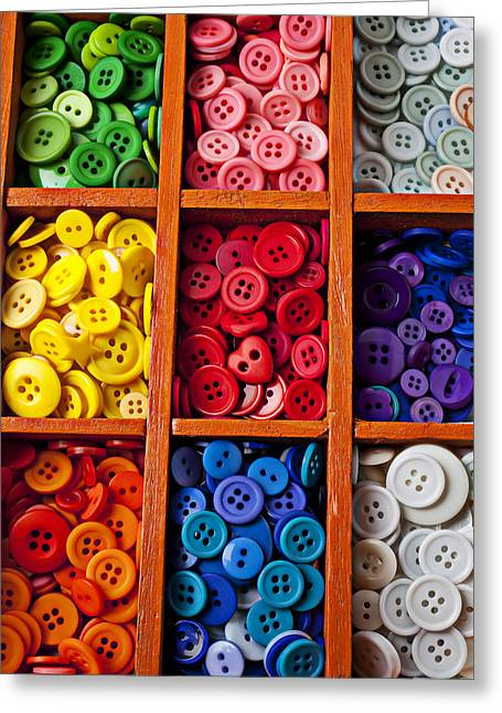 Wooden Box Greeting Cards - Compartments full of buttons Greeting Card by Garry Gay