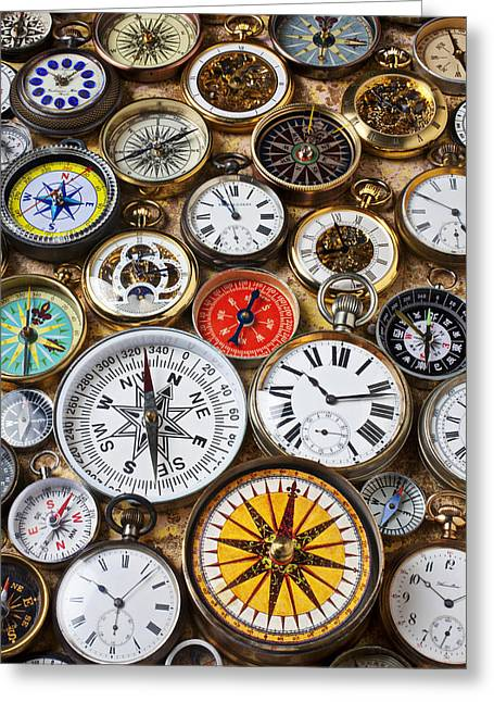 Timepieces Greeting Cards - Compases And Pocket Watches  Greeting Card by Garry Gay