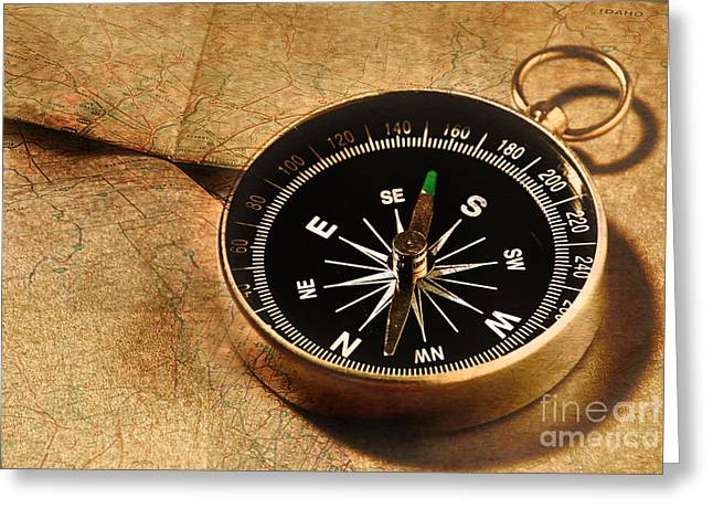 Compasses Greeting Cards - Compass Greeting Card by HD Connelly