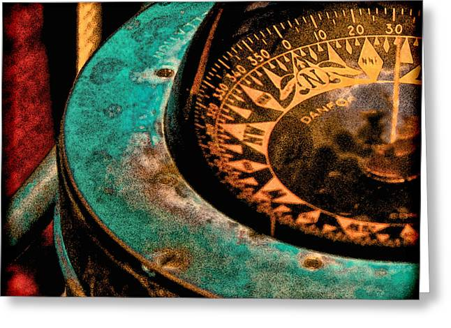 Turquoise And Red Greeting Cards - Ships Compass Greeting Card by Tony Grider