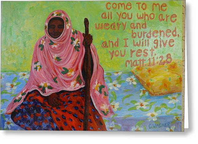Tired On Bed Greeting Cards - Compassion Greeting Card by Carol Ann Wagner