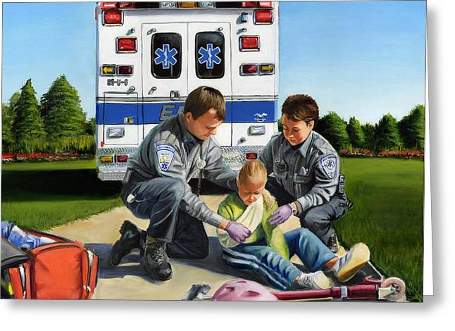 Ambulance Greeting Cards - Compassion Greeting Card by Paul Walsh