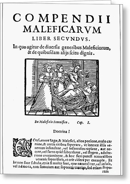 Titlepage Greeting Cards - Compendium Maleficarum Greeting Card by Granger