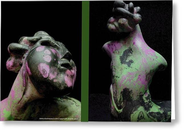 African-americans Sculptures Greeting Cards - Compensation-Black-Lavender-Green Greeting Card by Duane Paul