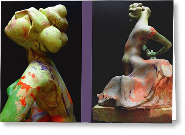 Recently Sold -  - African-americans Sculptures Greeting Cards - Compensation-Orange-Light Green-Blush Orange- Lemon yellow Greeting Card by Duane Paul