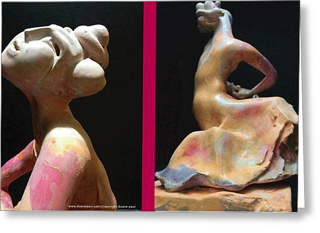 African-americans Sculptures Greeting Cards - Compensation-Pink- Dusty Orange-Purple Greeting Card by Duane Paul