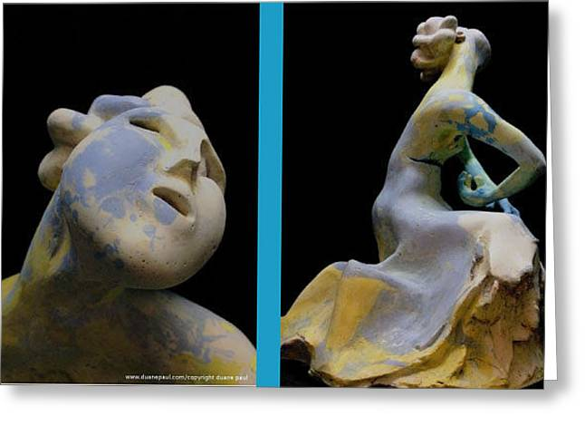 African-americans Sculptures Greeting Cards - Compensation-Spotted blue-Yellow-White Greeting Card by Duane Paul