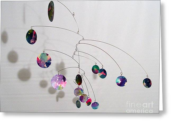 Ceiling Mobile Greeting Cards - Complexity Style Kinetic Mobile Sculpture Greeting Card by Carolyn Weir