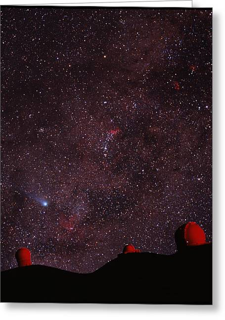 Halley Greeting Cards - Composite Image Of Halleys Comet & Mauna Kea Greeting Card by Magrath Photographynielsen