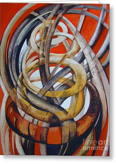 Abstract Composition Greeting Cards - Composition with red Greeting Card by Elena Oleniuc