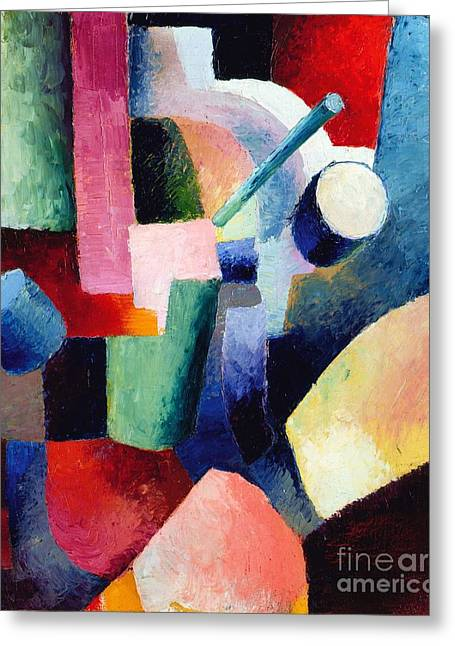 Macke Greeting Cards - Compositions of Forms Greeting Card by Pg Reproductions