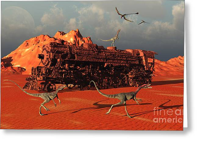 Saurischia Greeting Cards - Compsognathus Dinosaurs Greeting Card by Mark Stevenson