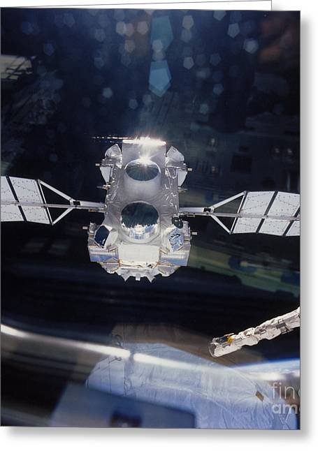 Atlantis Greeting Cards - Compton Observatory Satellite Greeting Card by NASA / Science Source
