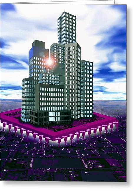Future Tech Greeting Cards - Computer Art Of Future City Floating On Microchip Greeting Card by Victor Habbick Visions