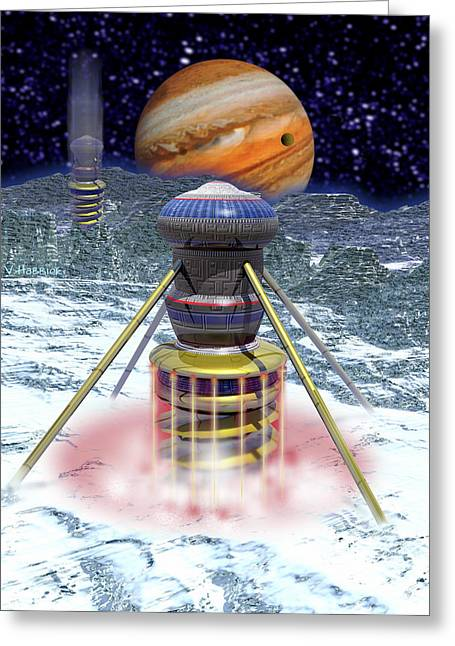 Probe Greeting Cards - Computer Art Of Probes Drilling Into Europas Ice Greeting Card by Victor Habbick Visions