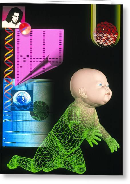 Computer Artwork Depicting Genetic Screening Greeting Card by Laguna Design