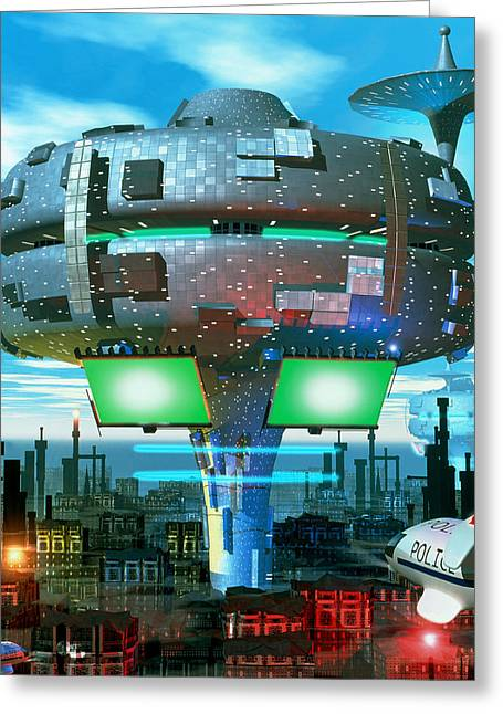 Police Art Greeting Cards - Computer Artwork Of A City Of The Future Greeting Card by Roger Harris