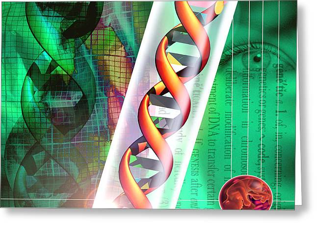 Computer Artwork Of A Dna Sample In A Tes Greeting Card by Victor Habbick Visions