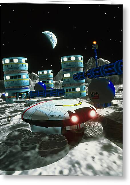 Lunar Base Greeting Cards - Computer Artwork Of A Future Lunar Base Greeting Card by Victor Habbick Visions