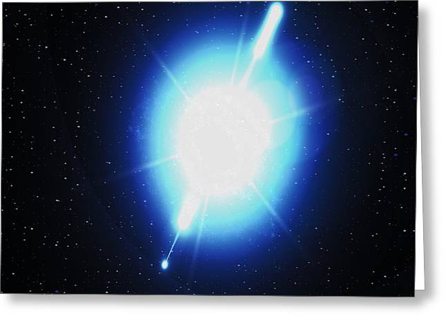 Gamma Rays Greeting Cards - Computer Artwork Of A Gamma Ray Burst Greeting Card by Greg Baconnasa