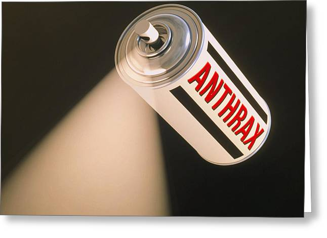 Computer Artwork Of An Anthrax Aerosol Spray Can Greeting Card by Laguna Design