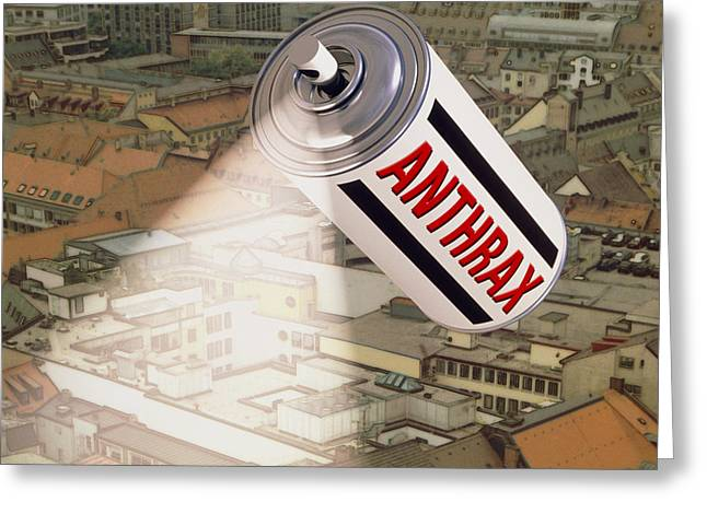 Computer Artwork Of Anthrax Spray Can Over A City Greeting Card by Laguna Design