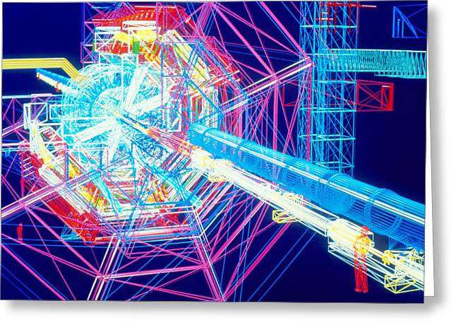 Lhc Greeting Cards - Computer Artwork Of Atlas Detector At Cern Greeting Card by David Parker